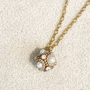 Jewelry - Long Gold, Crystal and Pearl Bauble Necklace
